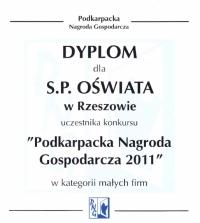 Dyplom Podkarpacka Nagroda Gospodarcza 2011