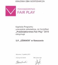 Certyfikat Przedsiębiorstwo Fair Play 2010